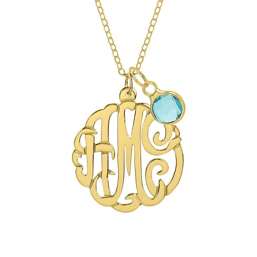 Sterling Silver Monogram Necklace with Birthstone