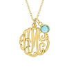 1 Inch Gold Monogram Necklace with Birthstone