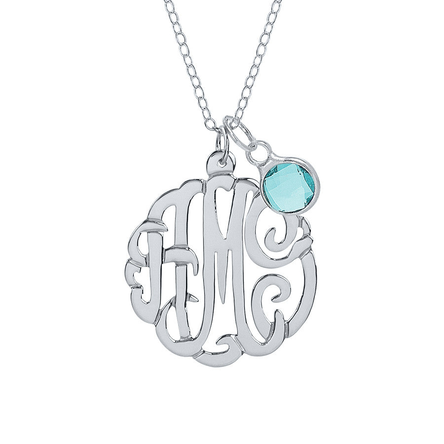 Sterling Silver Monogram Necklace with Birthstone 2