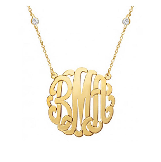Gold Monogram on Cubic Zirconia Necklace - Elisabeth Hasselbeck