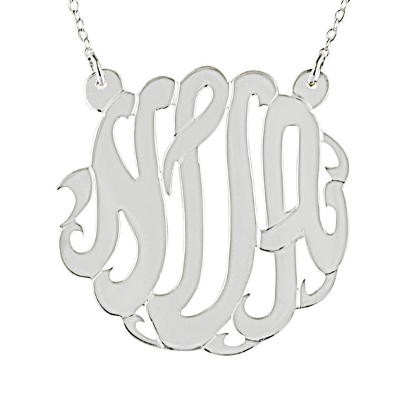 Medium Large Sterling Silver Monogram Necklace Split Chain