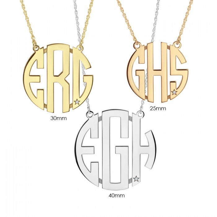 Block Monogram Necklace with Diamond Accent