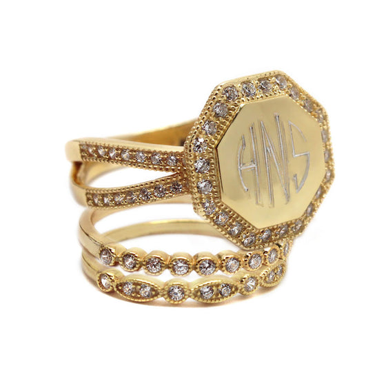 Gold CZ Rimmed Octagon Monogram Stacking Ring