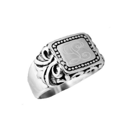 Sterling Silver Oval Flat Face Engraved Band Ring