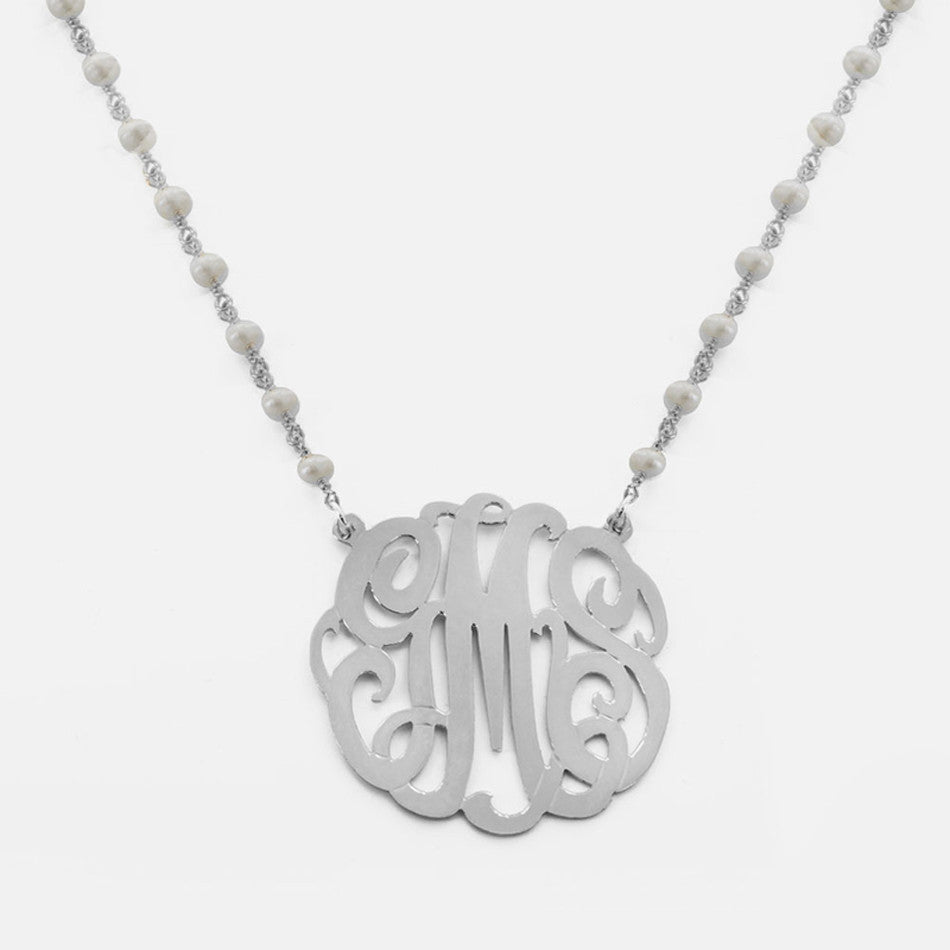 Monogram Pendant and Pearl Necklace