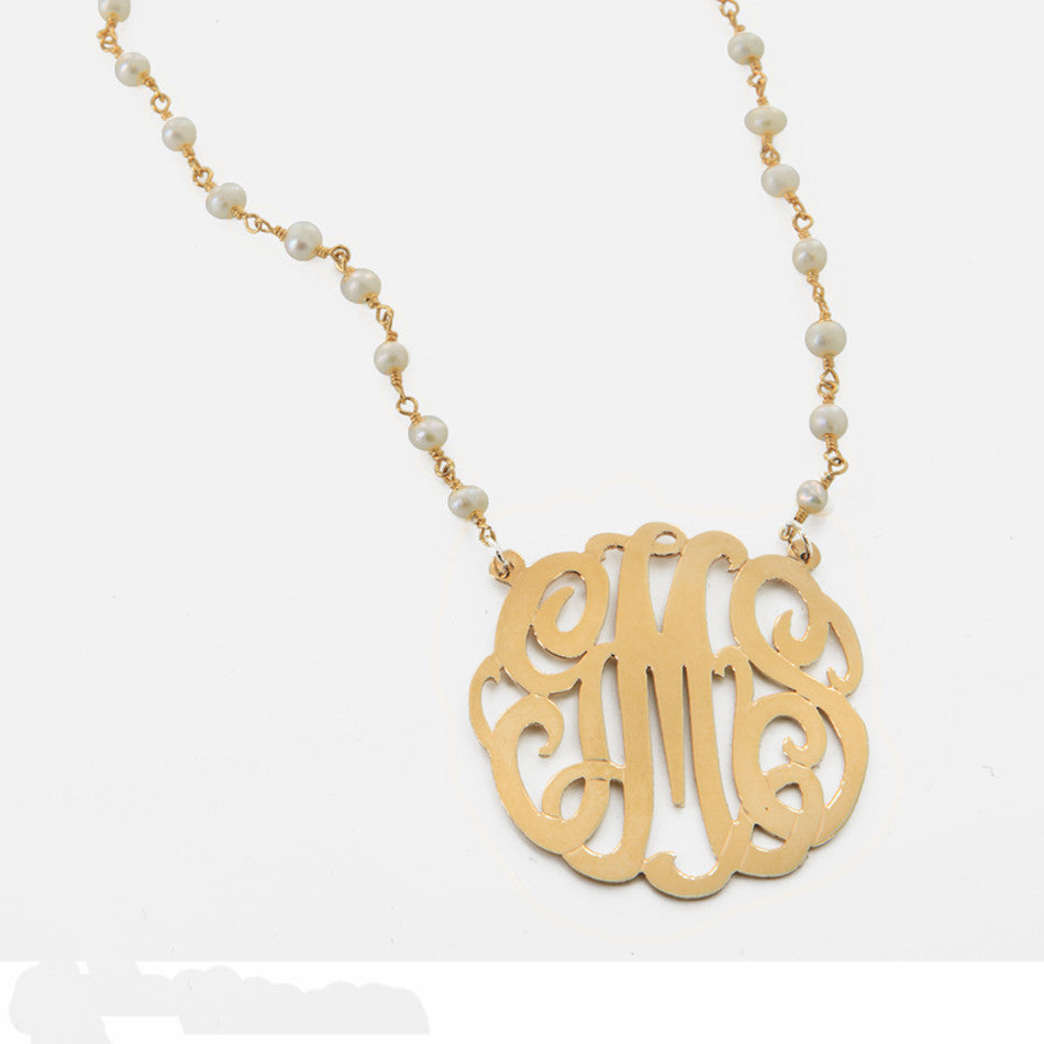 Monogram Gold Pendant and Pearl Necklace