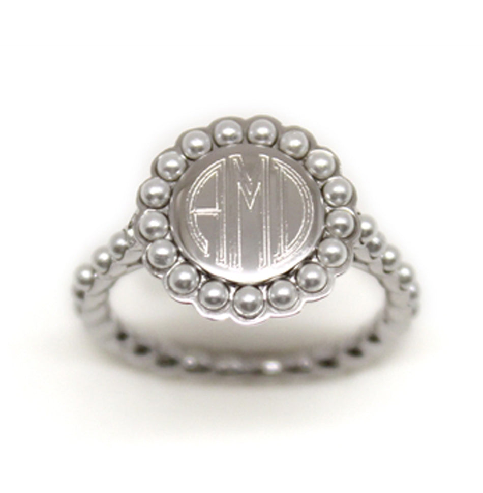 Sterling Silver Pearl Monogram Ring 4