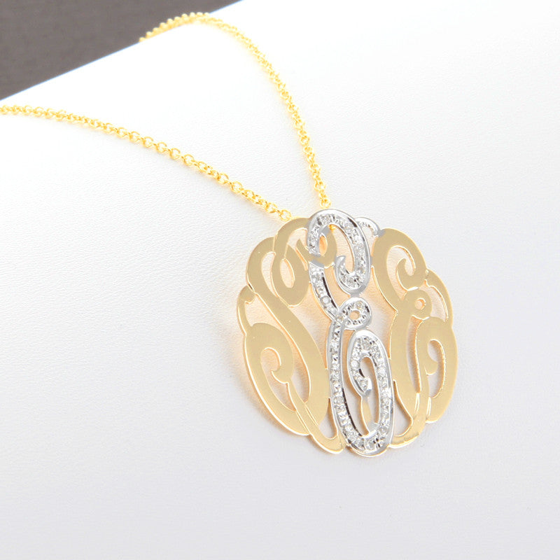cz monogram necklace - back bale