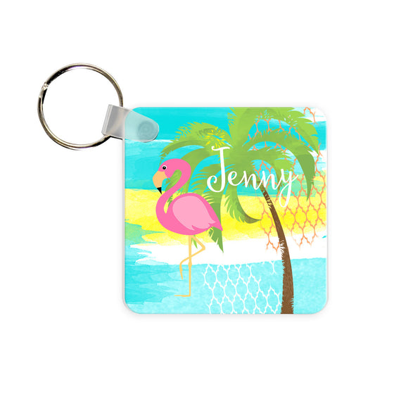 Monogram Key Chain - Pink Flamingo