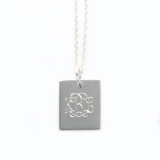 Personalized Sterling Silver Rectangle Necklace