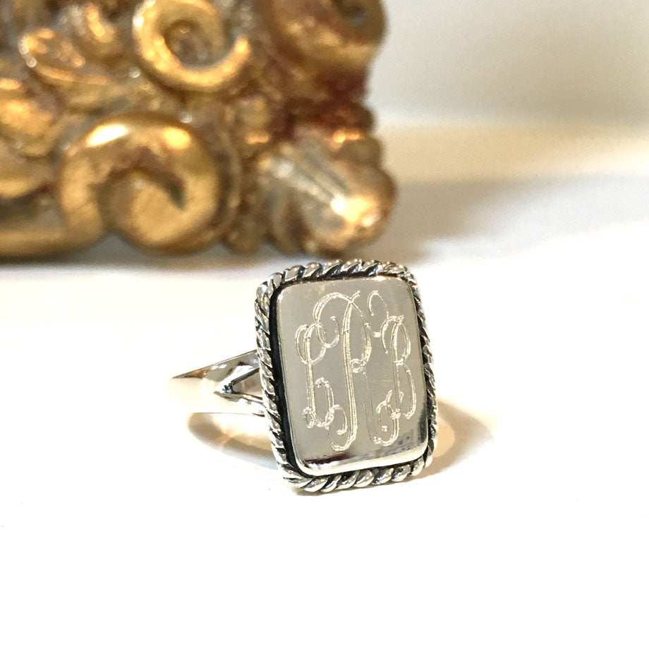 Sterling Silver Monogram Rope Edge Ring - Vertical Rectangle 3