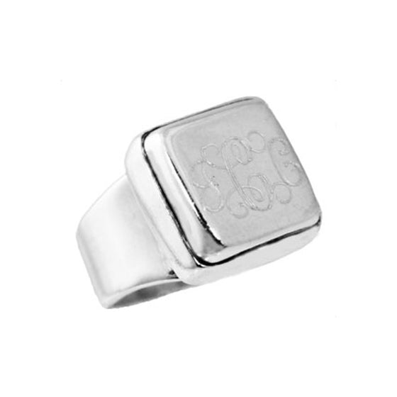 Monogram Silver Square Beveled Edge Ring
