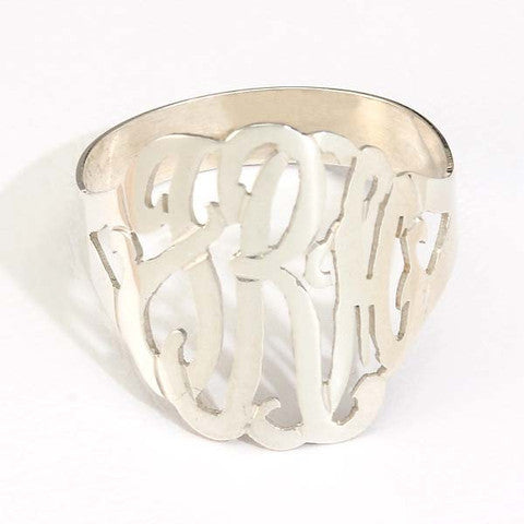 Sterling Silver Cut Out Initial Dome Ring