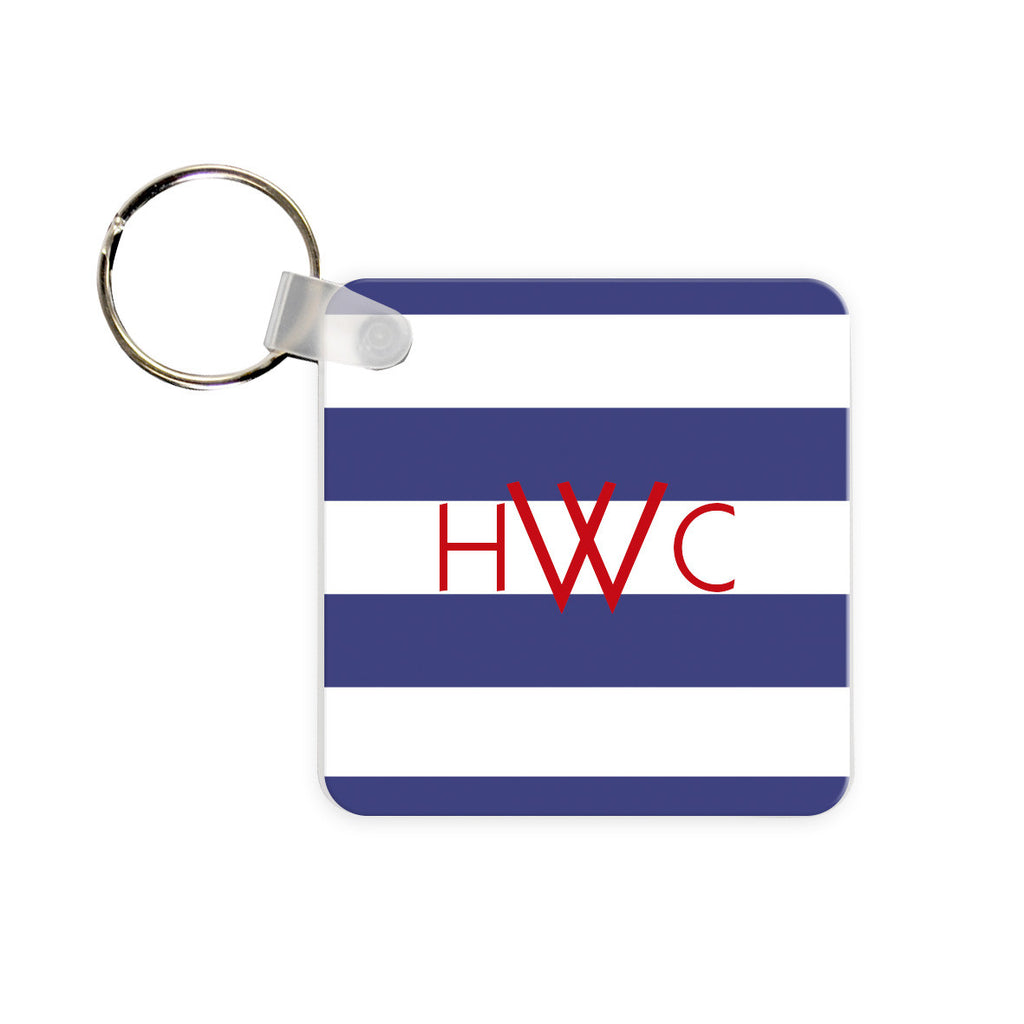 Monogram Key Chain - Rugby Stripe