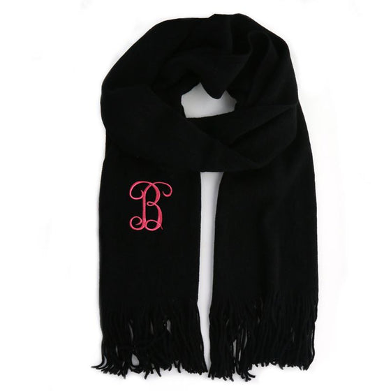 Soft Knit Monogram Scarf - Black