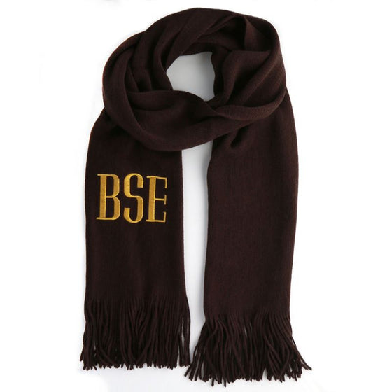 Soft Knit Monogram Scarf - Brown