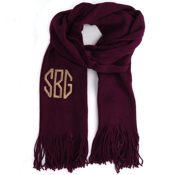 Soft Knit Monogram Scarf - Eggplant