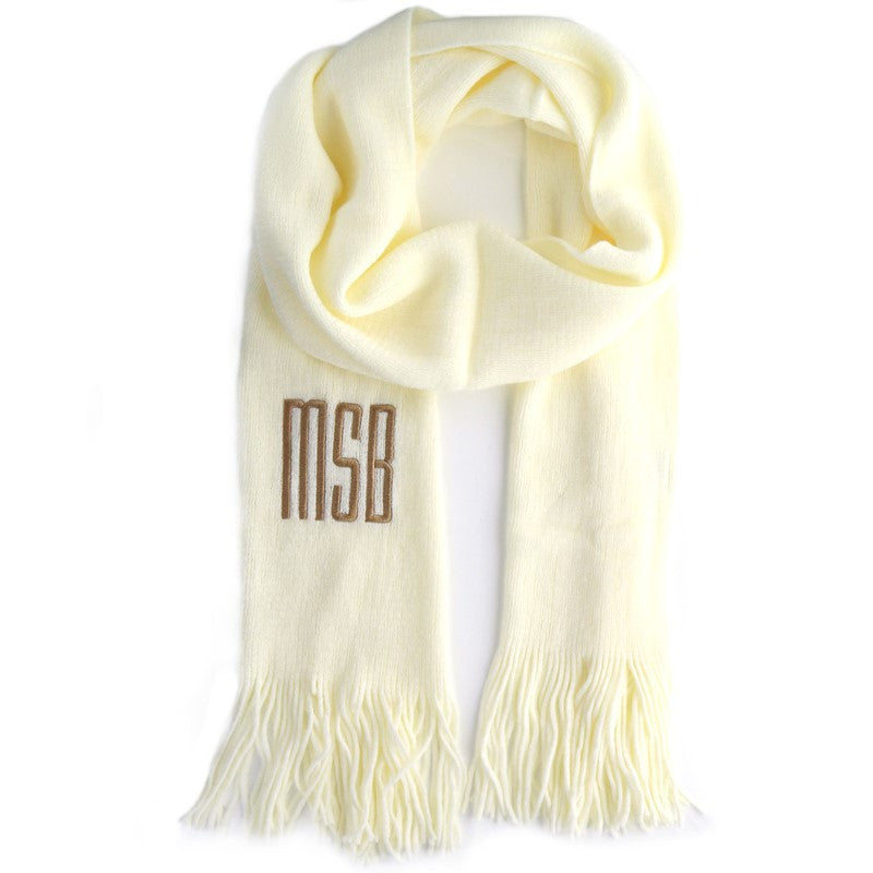 Soft Knit Monogram Scarf - Ivory