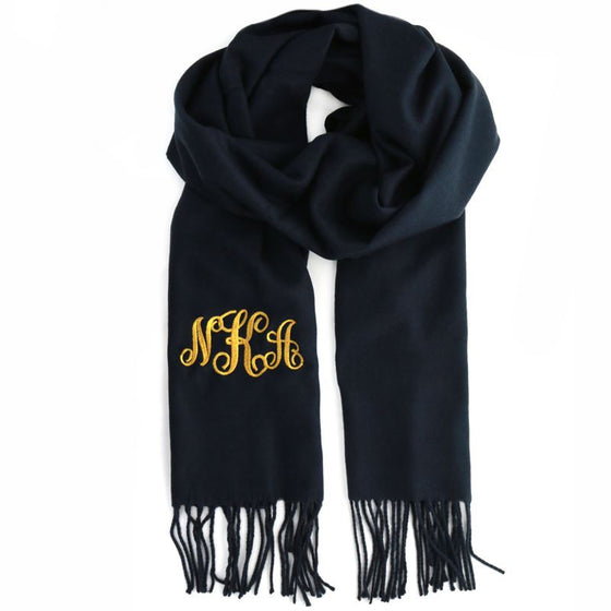Navy Monogram Scarf - Cashmere Feel