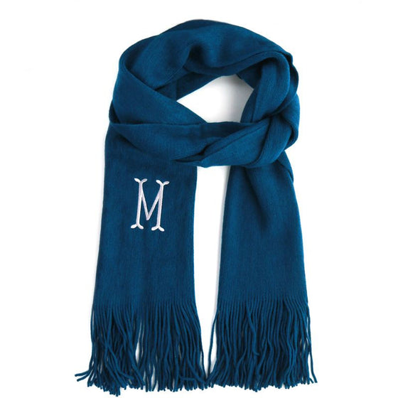 Soft Knit Monogram Scarf - Teal