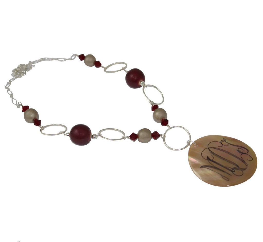 Engraved Shell Necklace - Tan and Burgundy