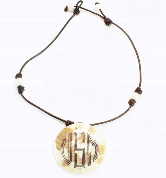 Engraved Shell Necklace - Pearl and Leather