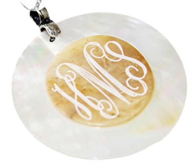 Engraved Embossed Mother of Pearl Shell Pendant