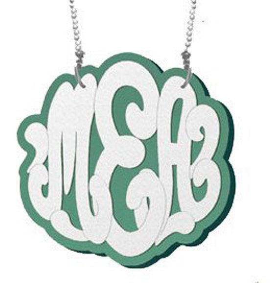 Sterling Silver and Acrylic Monogram Necklace