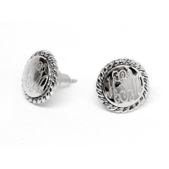 Sterling Silver Small Round Monogram Earrings - Rope Edge