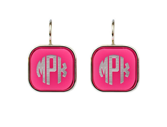 Vineyard Acrylic Square Monogram Dangle Earrings