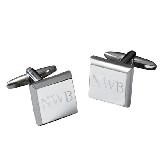 Personalized Square Silver Plated Cufflinks