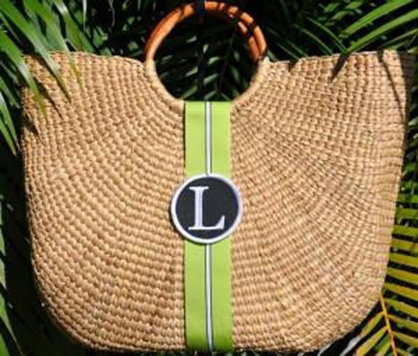Monogrammed  Beach Straw Basket Bag 2