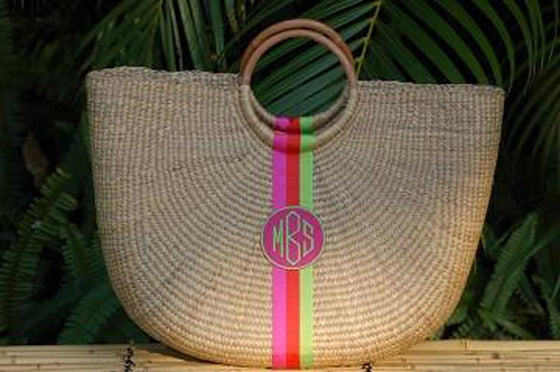 Monogrammed  Beach Straw Basket Bag