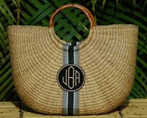 Monogrammed Large Straw Basket Bag