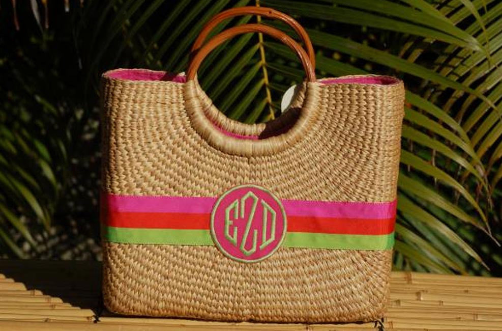 Monogram Medium Hyannisport Straw Basket Bag