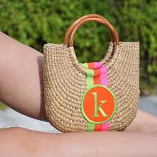 Monogrammed Cocktail Straw Basket Bag 2