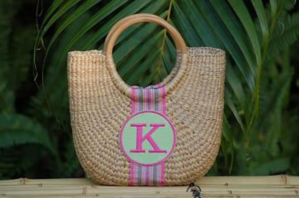 Monogrammed Cocktail Straw Basket Bag