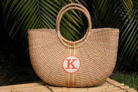 Monogram  Large Cape Cod Straw Basket Shoulder Bag