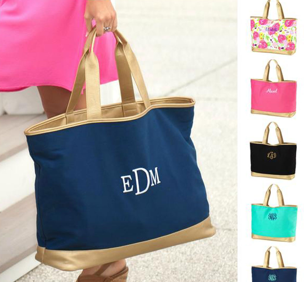 Monogram Canvas Tote Bag with Gold Trim - 5 Colors