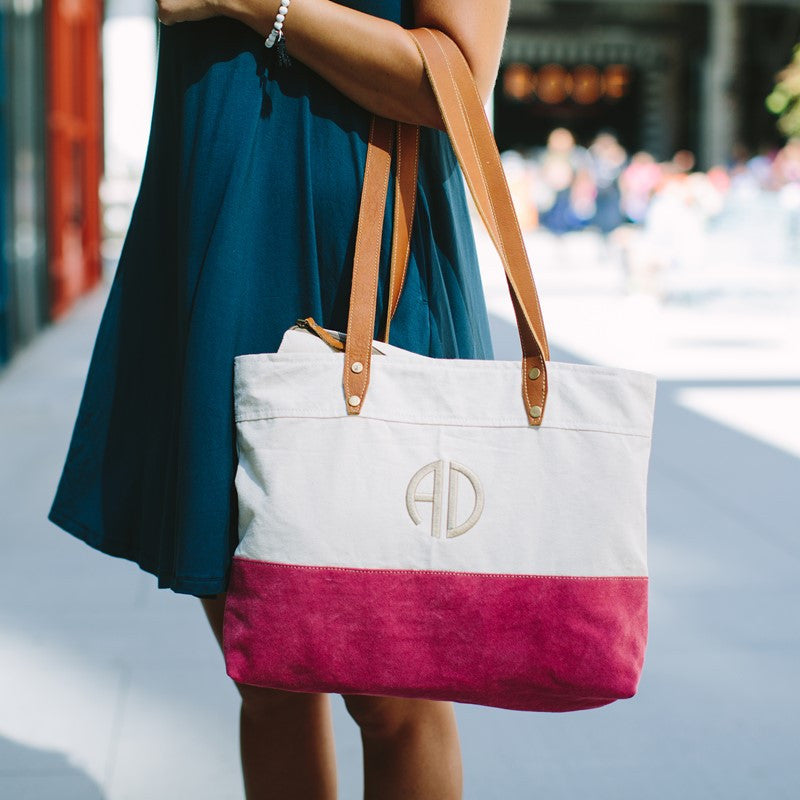 Monogram Canvas and Leather Tote Bag - 3 Colors