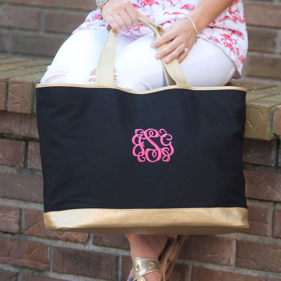 Monogram Canvas Tote Bag with Gold Trim - Black