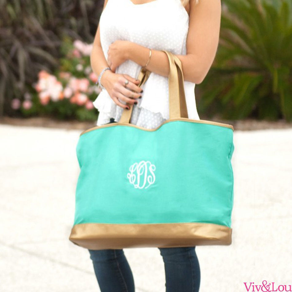 Monogram Canvas Tote Bag with Gold Trim - Mint