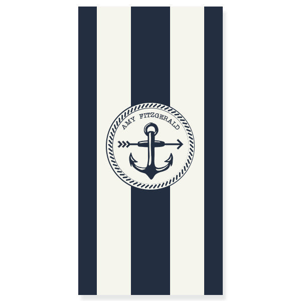 Personalized Beach Towel-Nautical Stripe