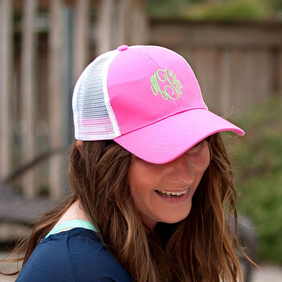 Monogram Trucker Hat - Pink