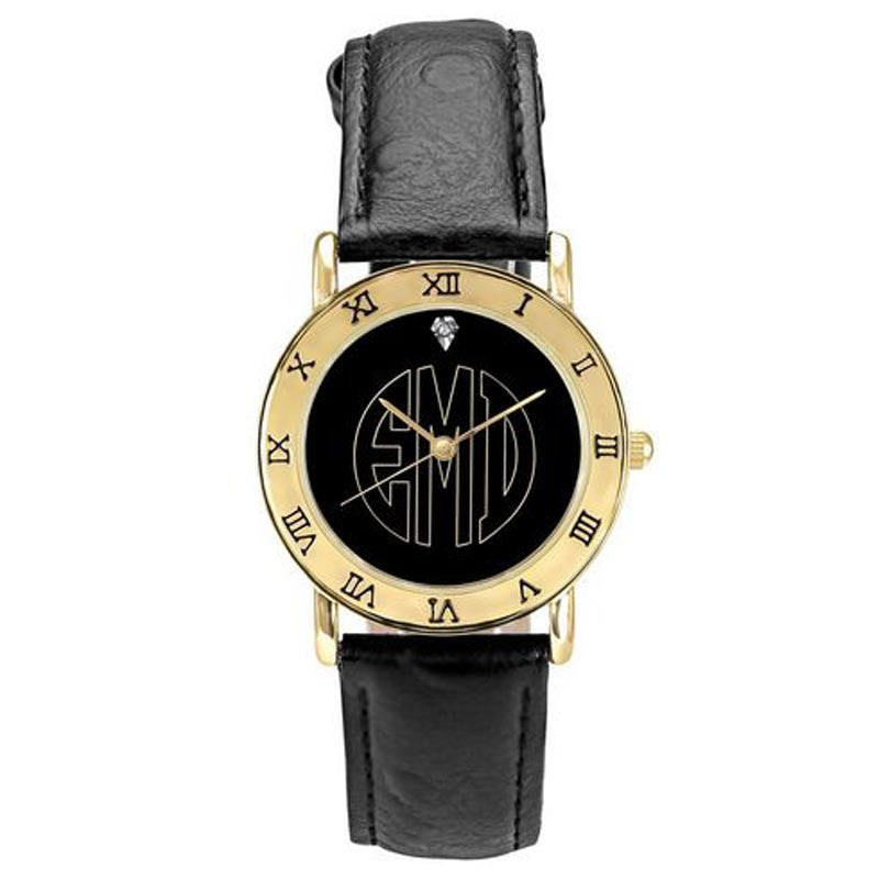 Ladies Monogram Watch-Black Dial