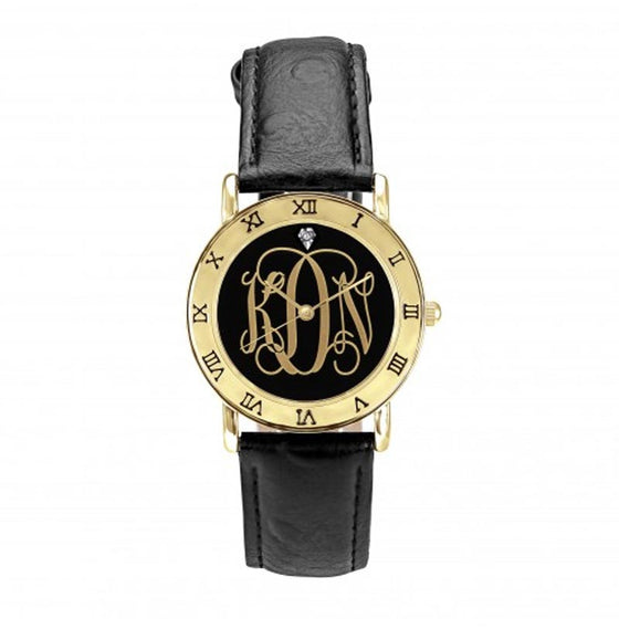 Ladies Monogram Watch - Black Script