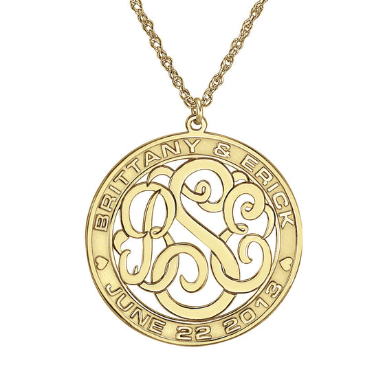 Couples Script Monogram Wedding Date Necklace