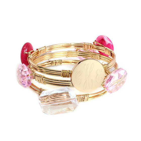 Monogram Wire Wrap Bangle Bracelet Set - Pink