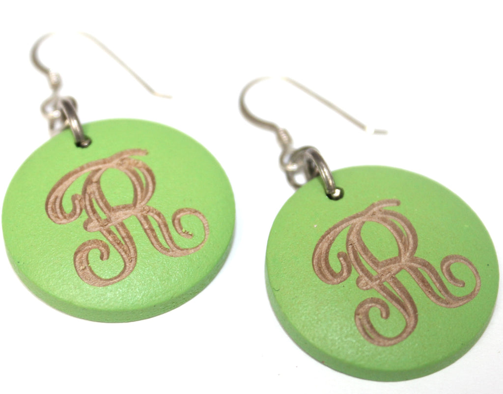 Monogram Wood Earrings - Lime