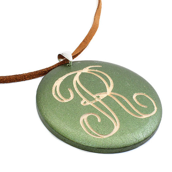 Monogrammed Round Green Wood Necklace